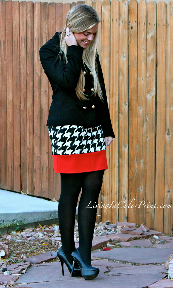 Houndstooth for Fall, how to wear houndstooth, houndstooth and orange, houndstooth sheath