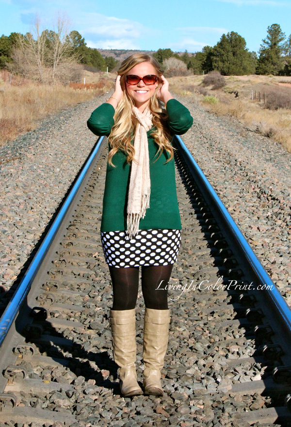 Moda Xpress polka dot skirt, hunter green sweater, colin stewart boots