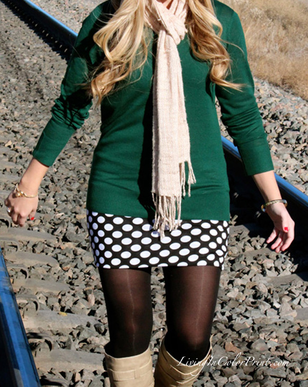 Polka Dot Skirt, train tracks photoshoot, MMJ initial bracelet, Movember blogger campaign