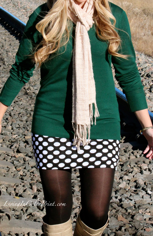 Polka Dot Skirt, train tracks photoshoot, DKNY green sweater, what to wear for fall in colorado