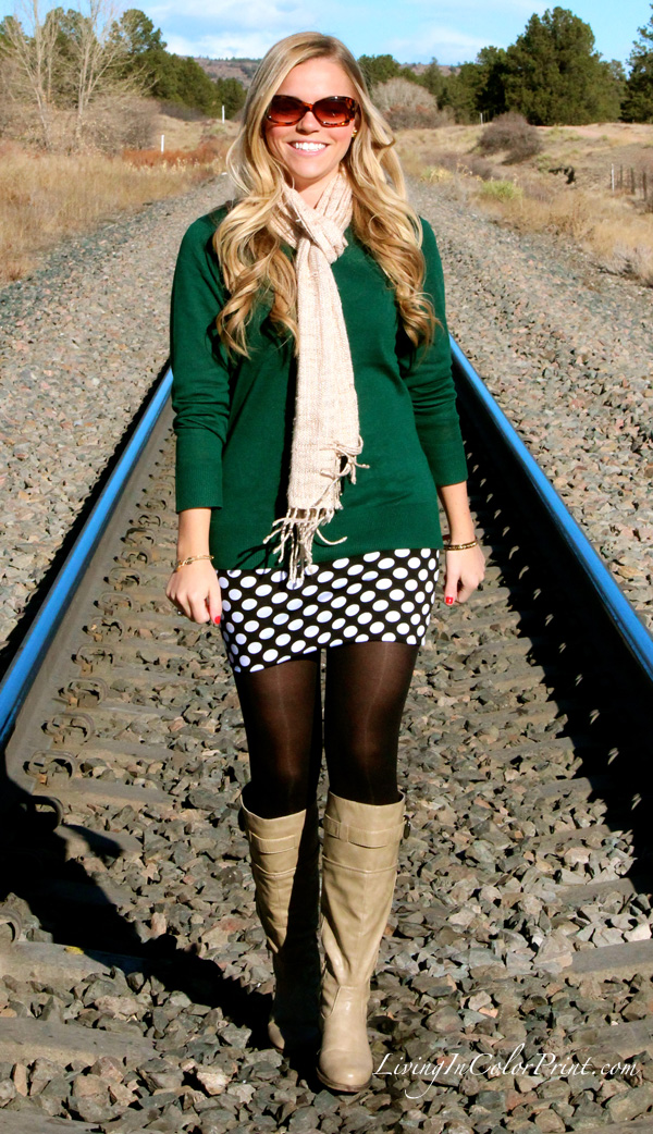 Polka Dot Skirt, trail tracks photo shoot, hunter green sweater, Moda Xpress, DKNY sweater, how to dress for colorado fall