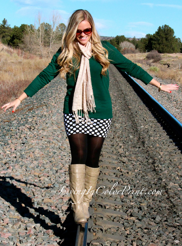 Polka Dot Skirt, hunter green sweater, beige boots, how to dress for fall in colorado, train tracks photoshoot