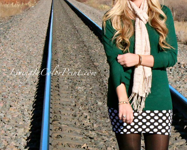 Polka Dot Skirt, train tracks photoshoot, DKNY green sweater, beige scarf, blogger outfit of the day, Miami fashion blogger