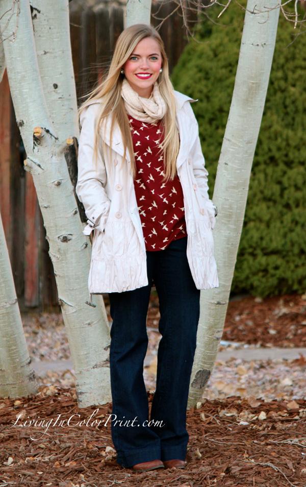 Weekday Errands, Hope's boutique, Garnet blouse with birds, cream pea coat