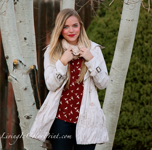 Weekday Errands, cream scarf and pea coat, burgundy blouse with wide leg jeans, Hope's Boutique