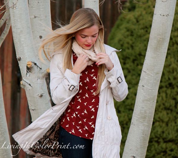 Weekday Errands, burgundy blouse with birds, cream trench coat
