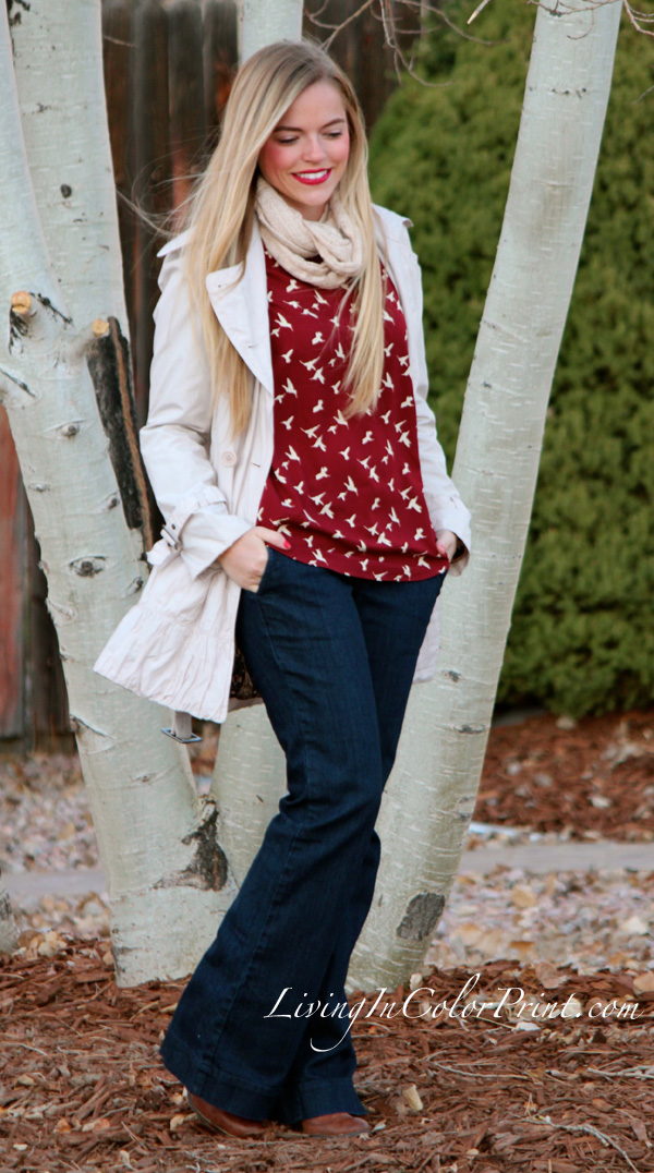 Weekday Errands, wide leg jeans, burgundy blouse with cream birds, Hope's Boutique blouse