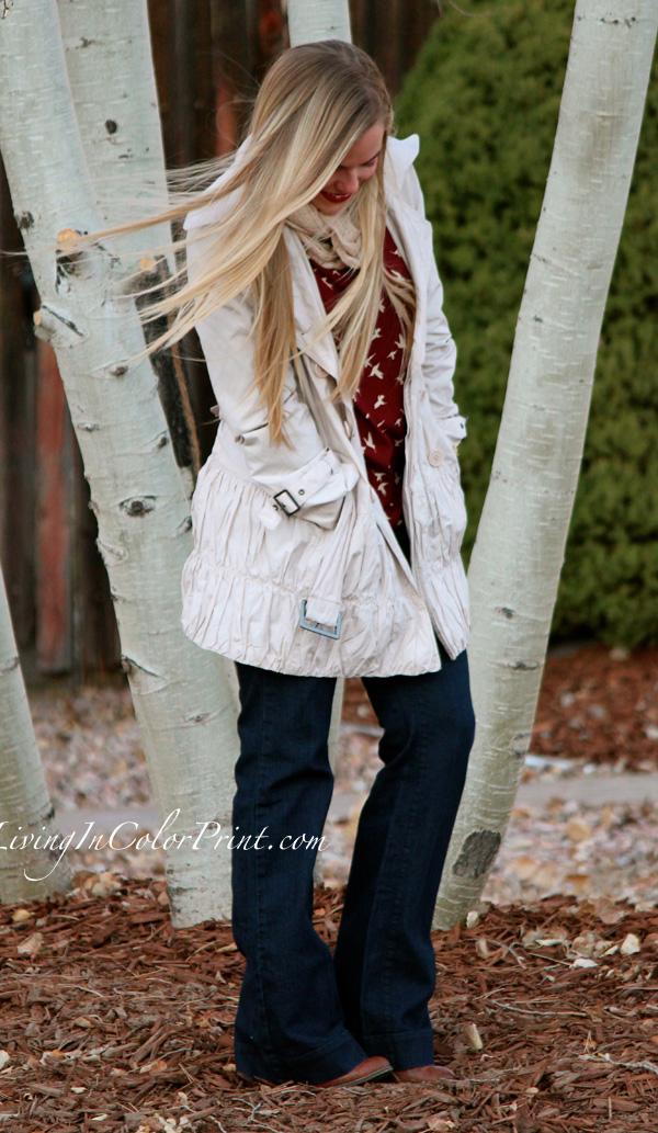 Weekday Errands, cream trench coat, wide leg jeans, garnet burgundy blouse