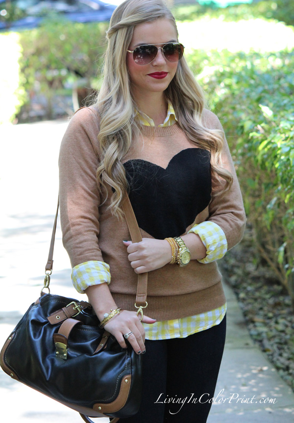 4 Ways to Wear Graphic Sweaters, J Crew Heart Sweater, Levi Jeans, Nine West black and cognac shoulder bag, MIA burgundy flats, yellow gingham button down