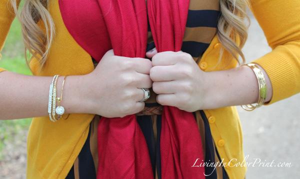 Poshlocket Guest Post, Navy Stripe Dress, Closet Deep, Navy Gold and Red Outfit, Golden Gate Park