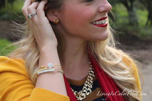 Poshlocket Guest Post, Ayami's Jewelry, Pave Bar Bracelet, Poshlocket Holiday Collection, Gold Bib Weave Necklace, Navy and gold stripe dress, Closet Deep