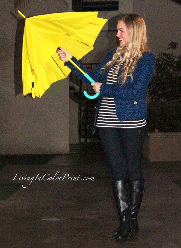 Does it ever rain in LA?, Rainy LA, cobalt blue tweed coat, light weight tweed jacket, fall tweed jacket