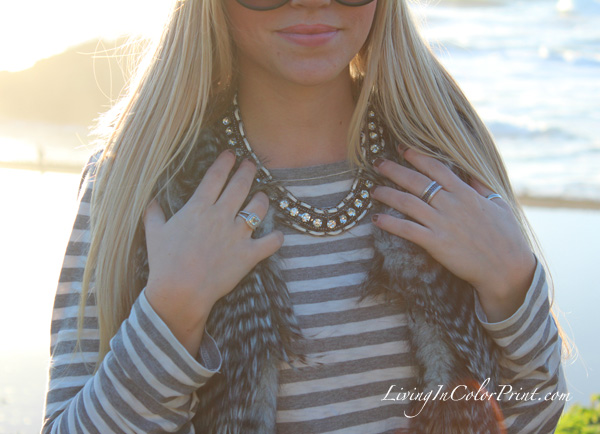 West Cost fashion, Sira and Mara necklace, Karen Kane faux fur vest, grey and white stripes