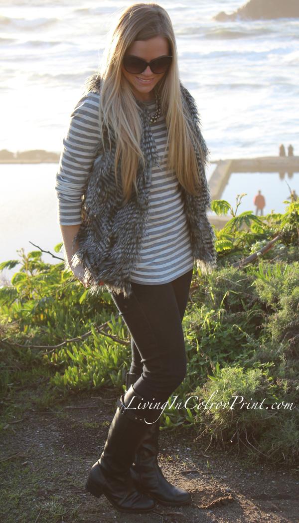 West Coast fashion, how to dress in San Fran, San Francisco fashion, Lands End view, Karen Kane faux fur vest, grey and white stripes