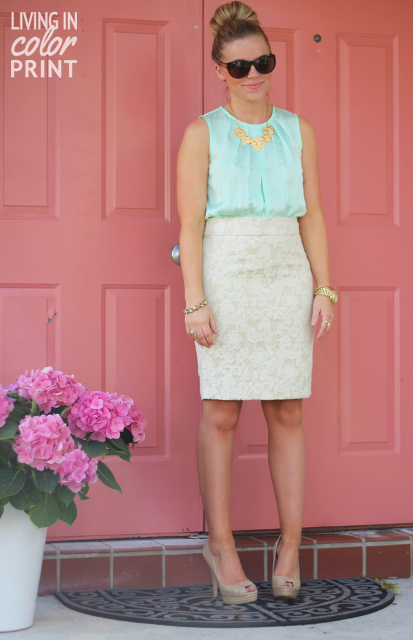 Sorbet // Living In Color Print, Maxx Style Scout Challenge, TJ Maxx Maxxinista, sorbet colored outfit, lace pencil skirt, mint tank blouse