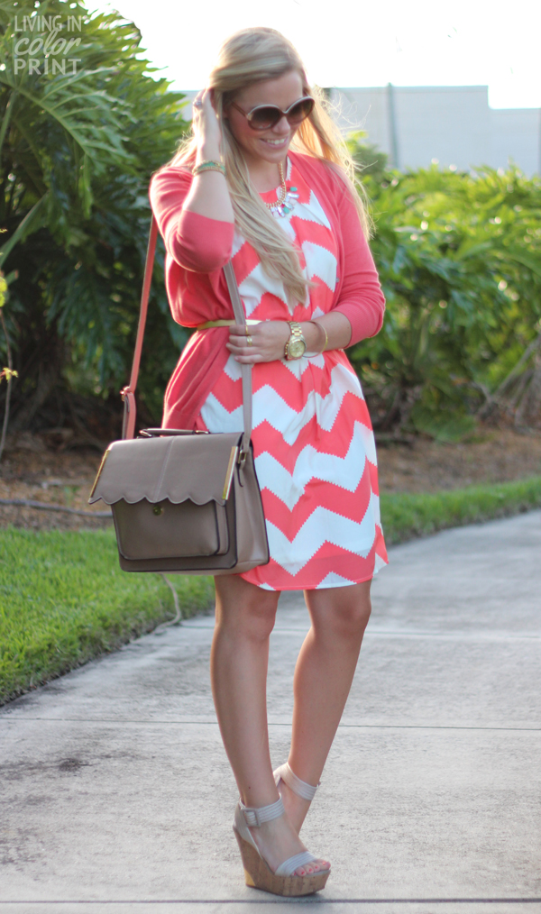 Coral Chevron | Living In Color Print