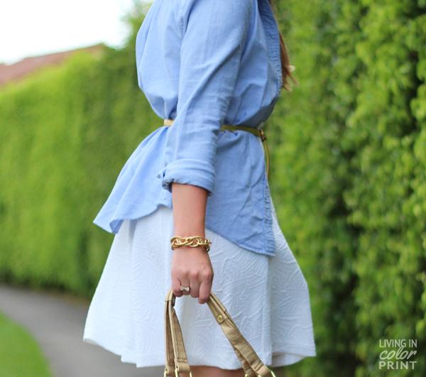 White Textured Dress + Chambray