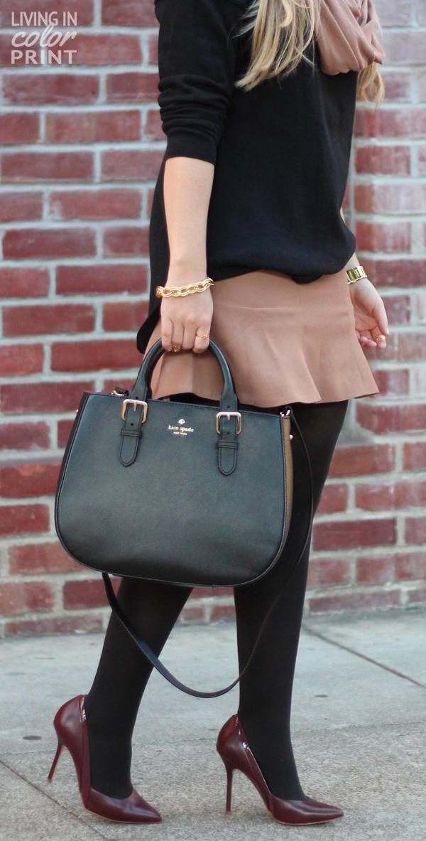 Camel Fit & Flare Skirt