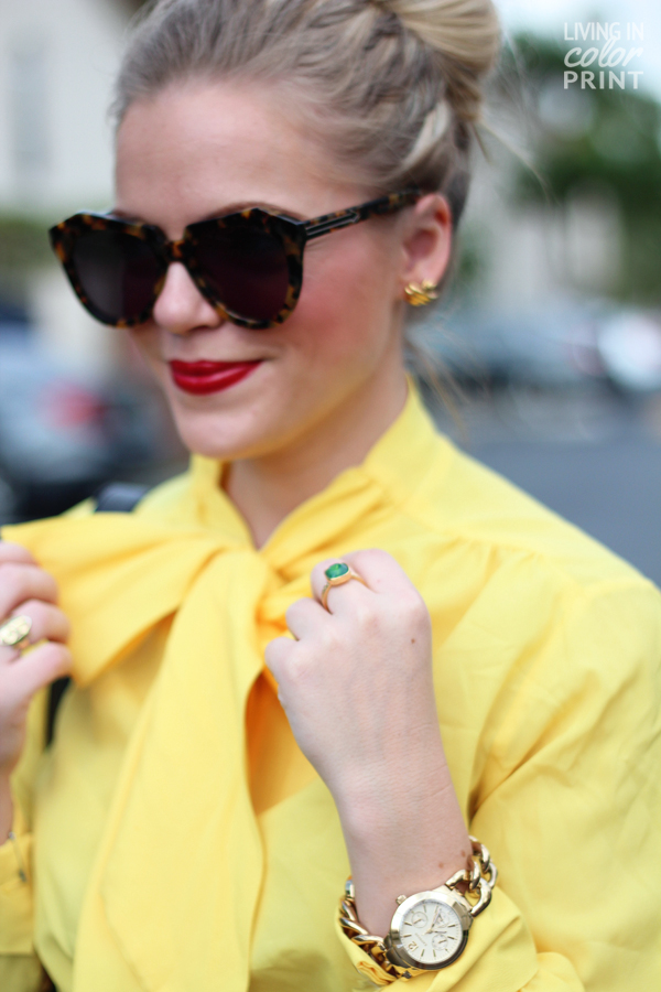 Yellow Bow Blouse | Living In Color Print