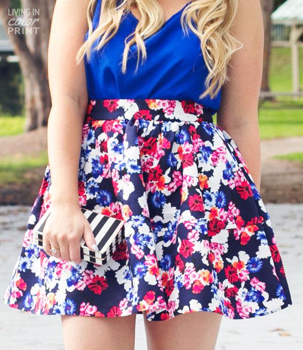Feminine Floral Circle Skirt