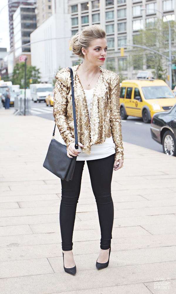 NYFW | Gold Sequin Jacket