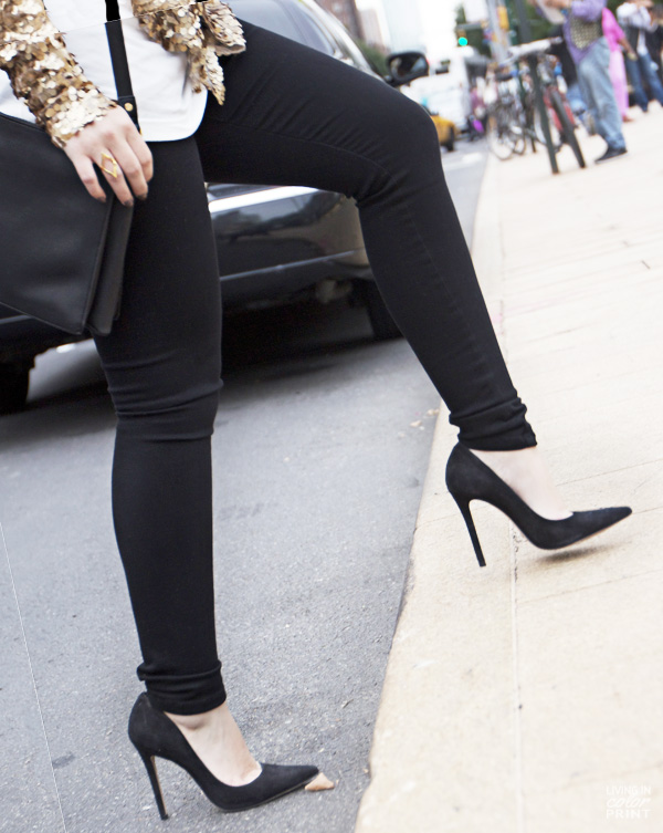 Black James Jeans + Schutz Heels