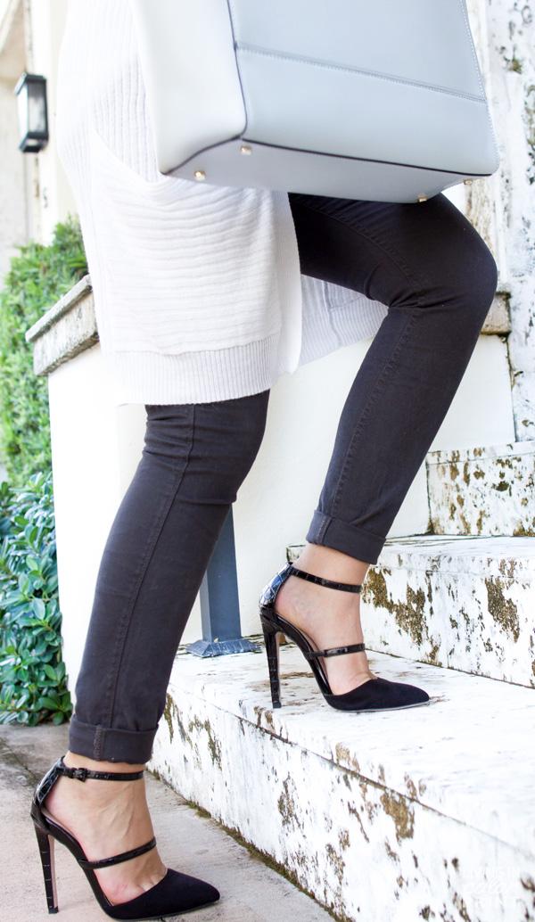 Grey Denim + Black Strappy Heels