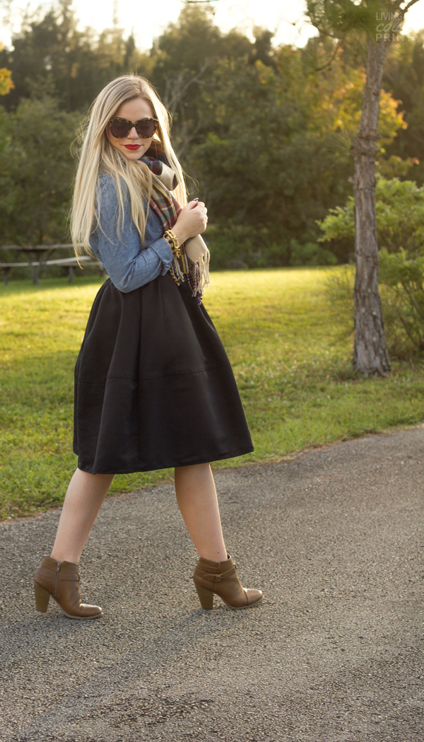 Black Skirt + Chambray | Living In Color Print