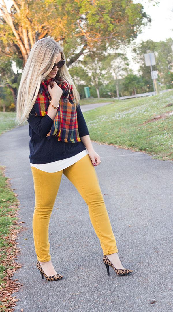 Mustard + Plaid Scarf