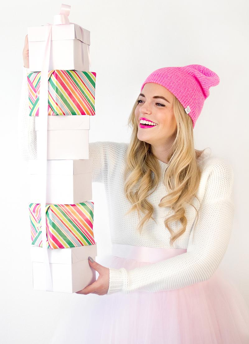 Hot Pink Beanie + Pink Presents
