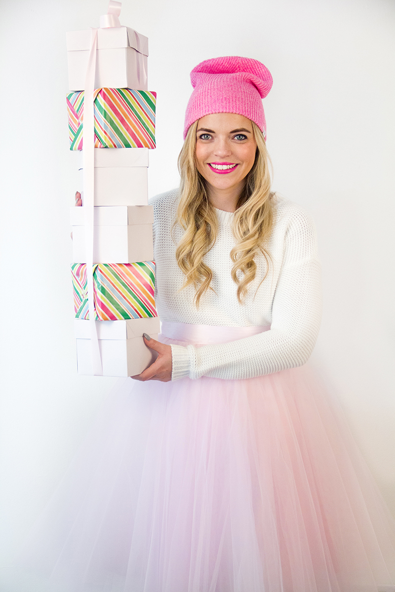 Hot Pink Beanie + Pink Tulle
