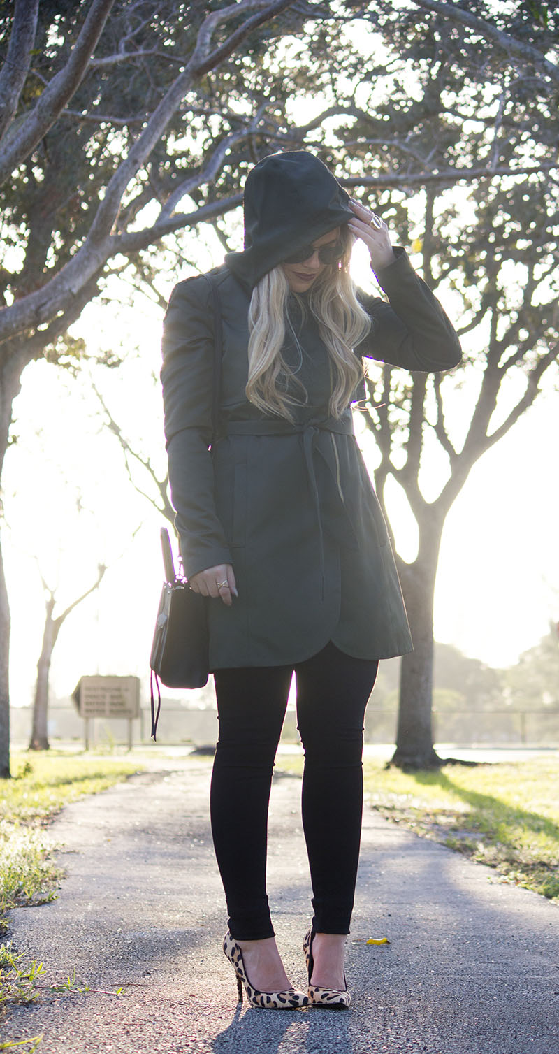 Olive-Trench-Coat-Steve-Madden-Leopard-Pumps