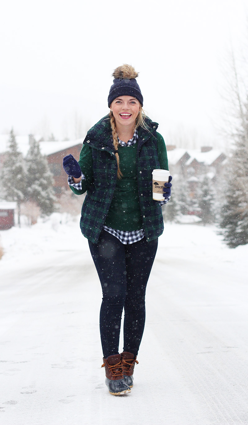 green-navy-plaid-puffer-vest