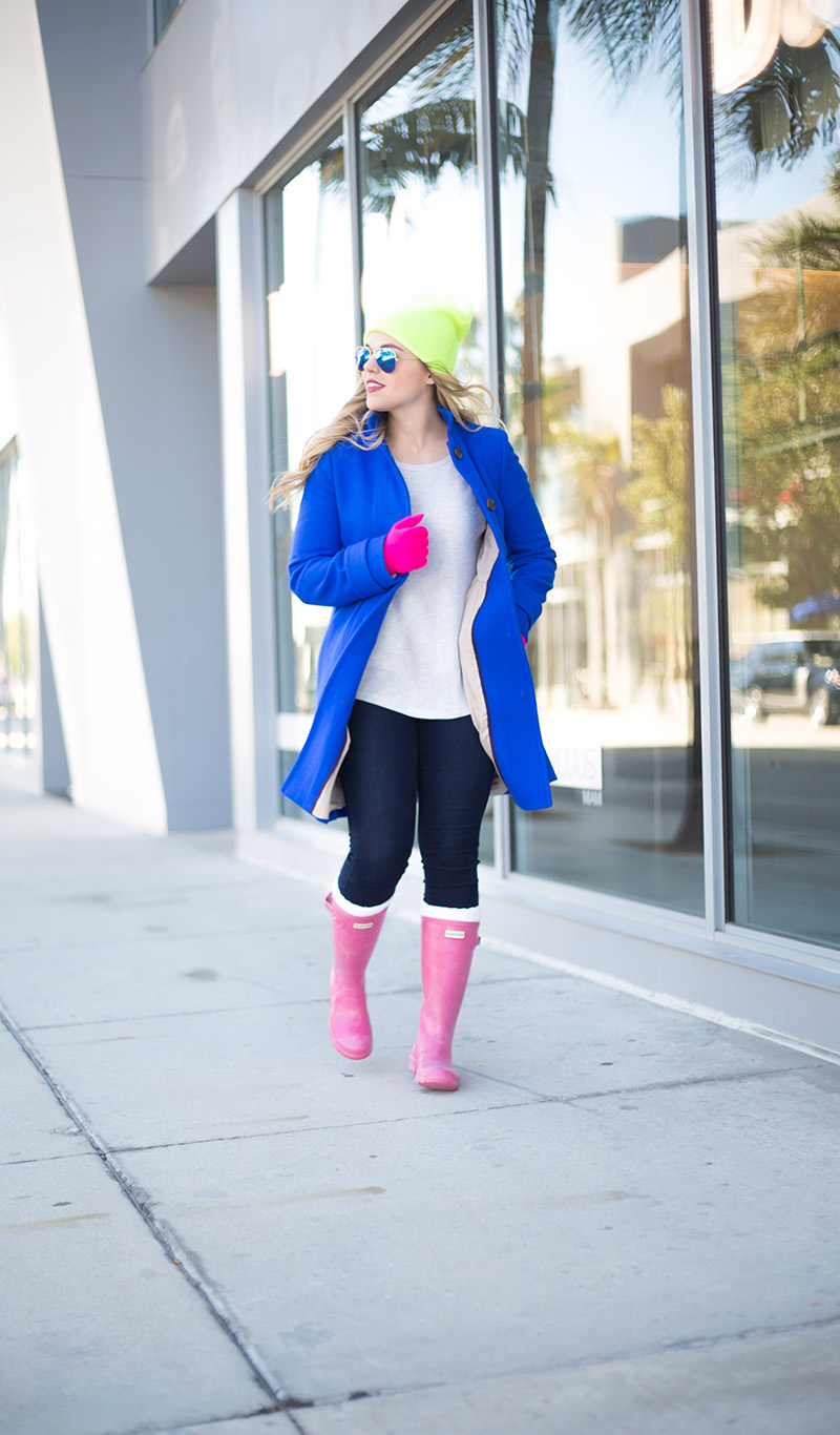 cobalt-coat-pink-hunter-boots-brights-for-winter