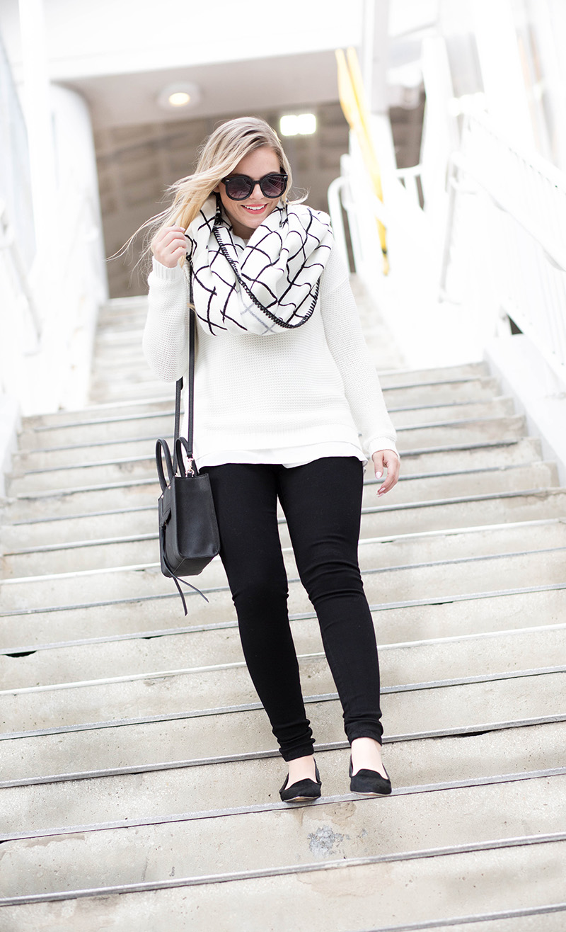 black-and-cream-oversized-grid-check-scarf