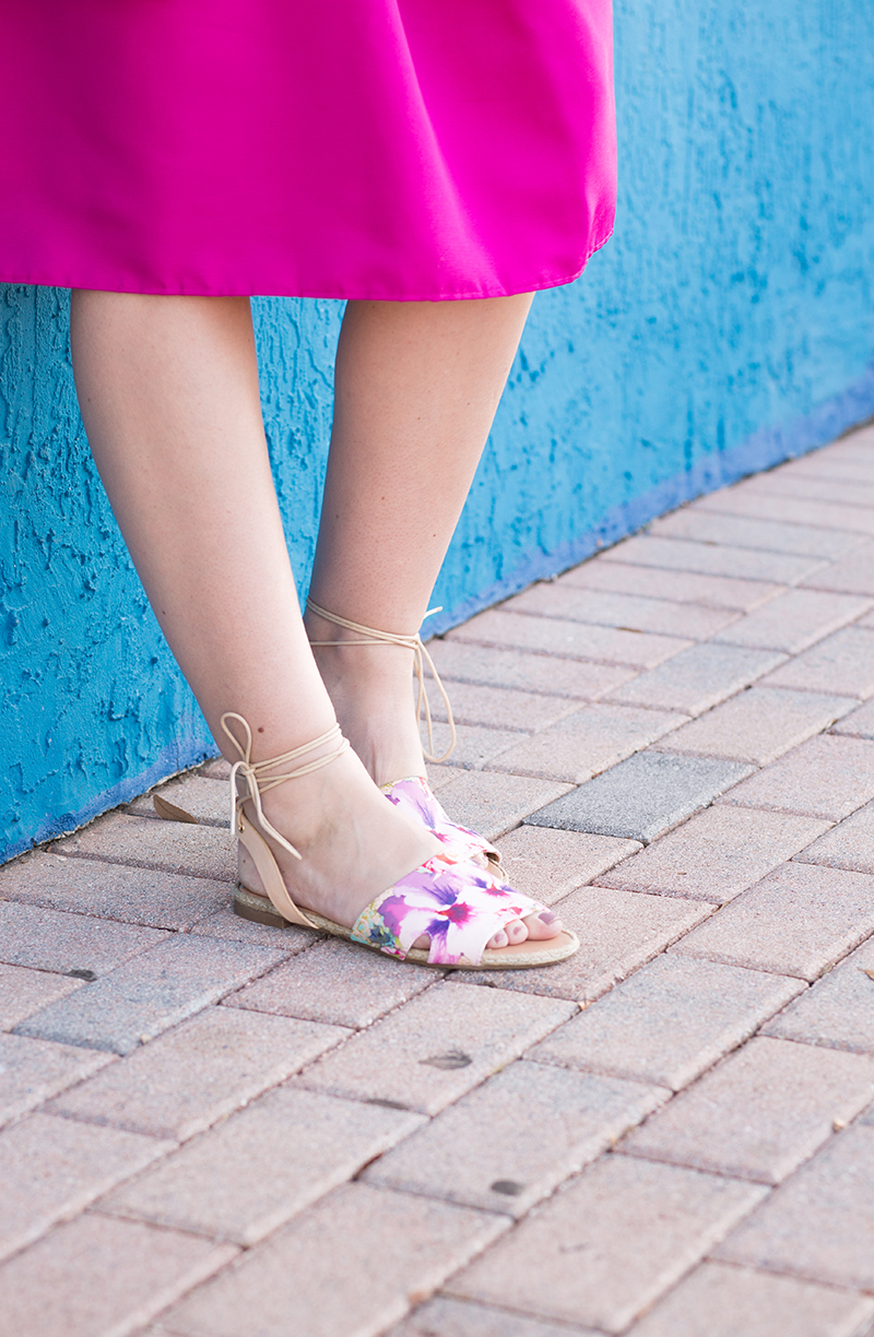floral-sandals-and-fuschia-skirt