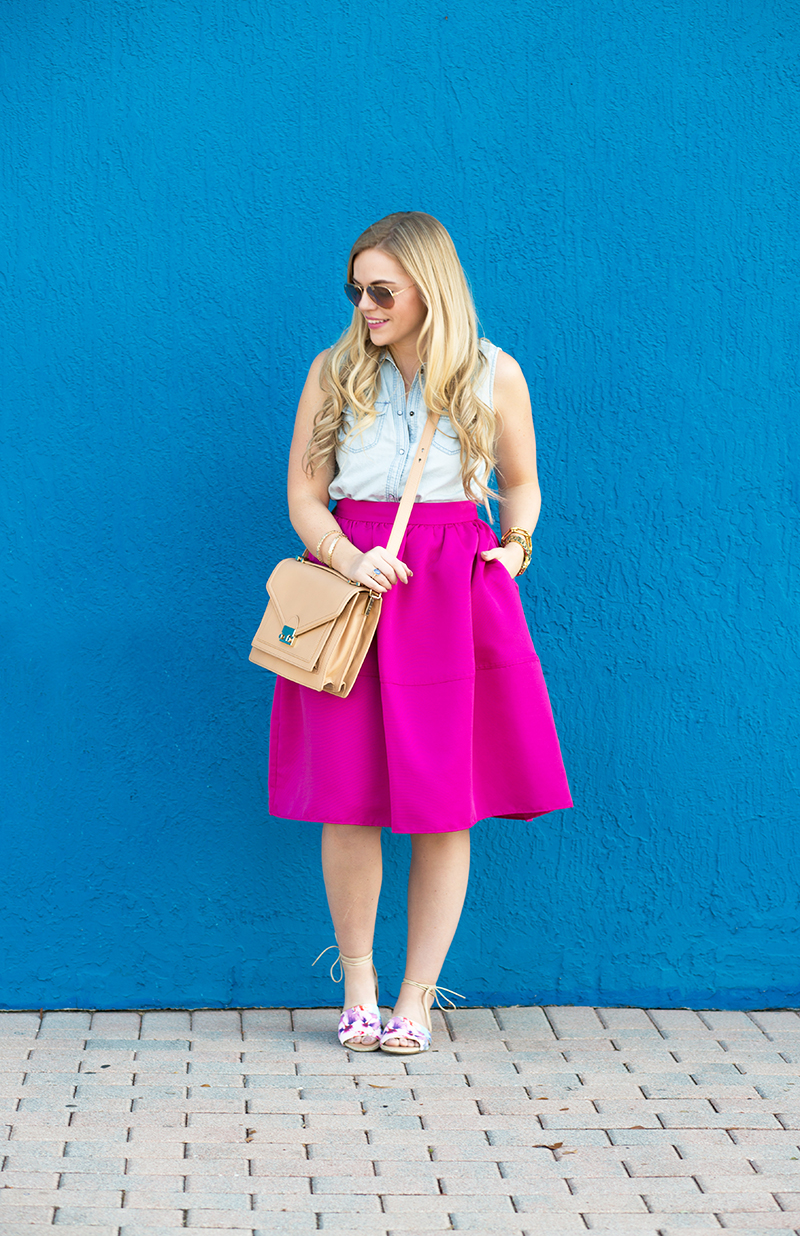 fuschia-midi-skirt