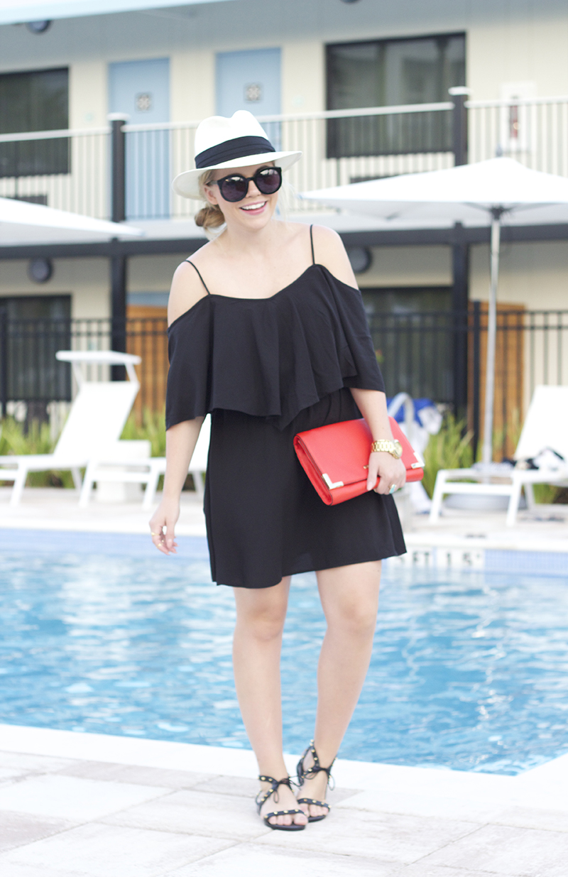 black-off-the-shoulder-dress
