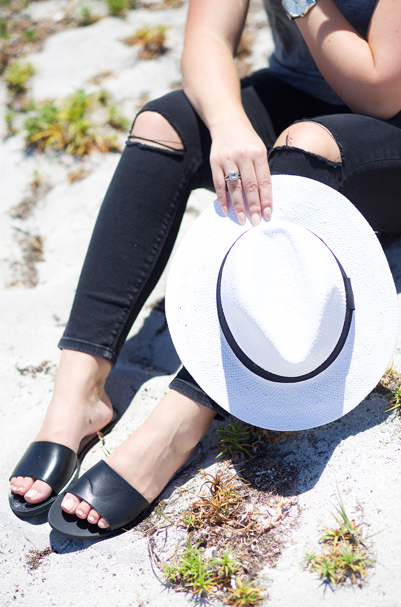 black-denim-white-straw-fedora