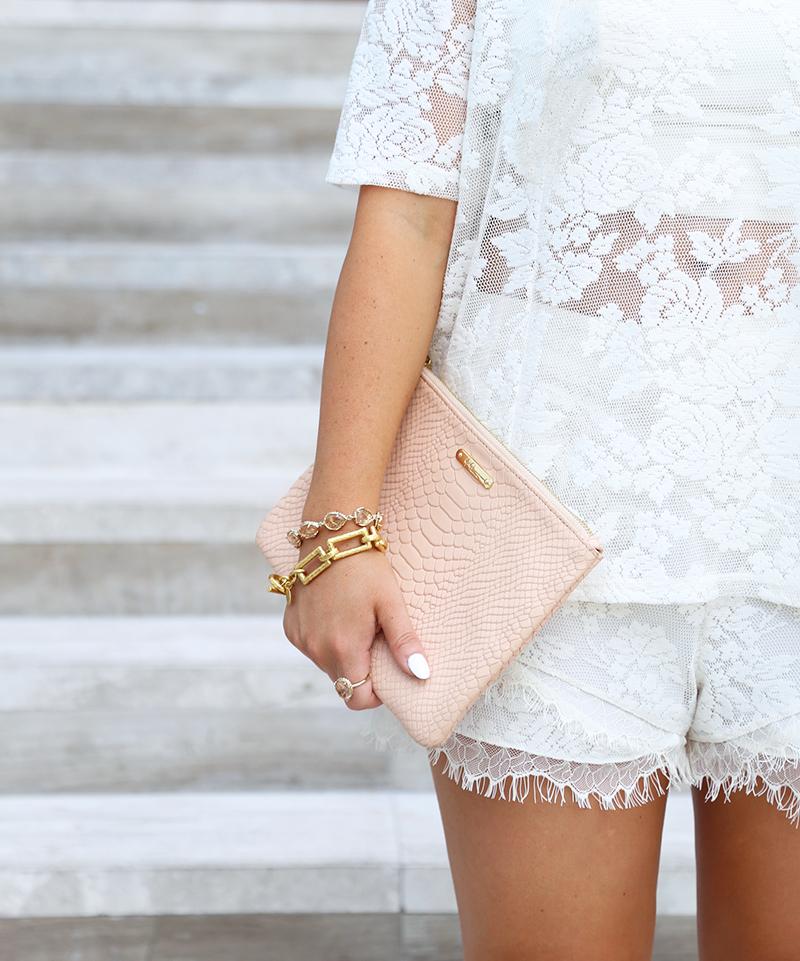 Cream Lace Shorts Set