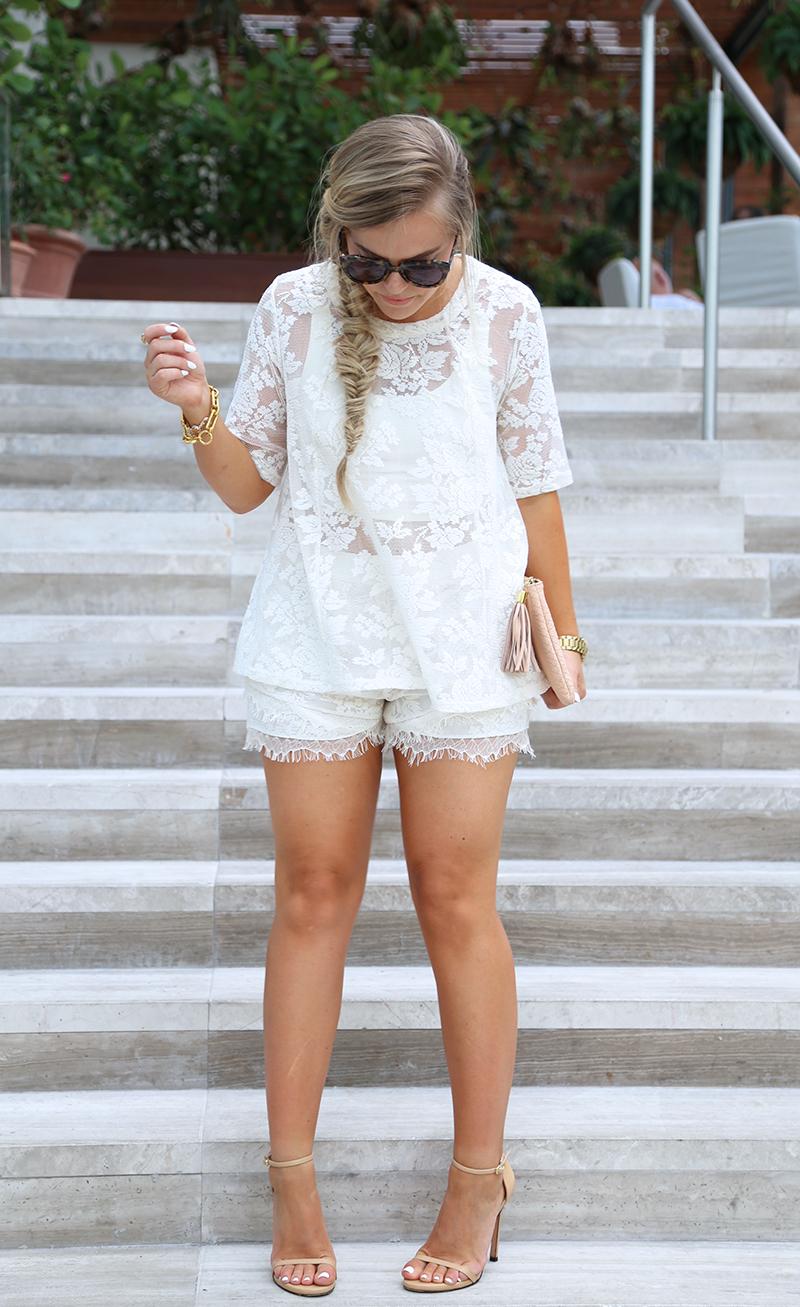 Cream Lace Shorts Set10