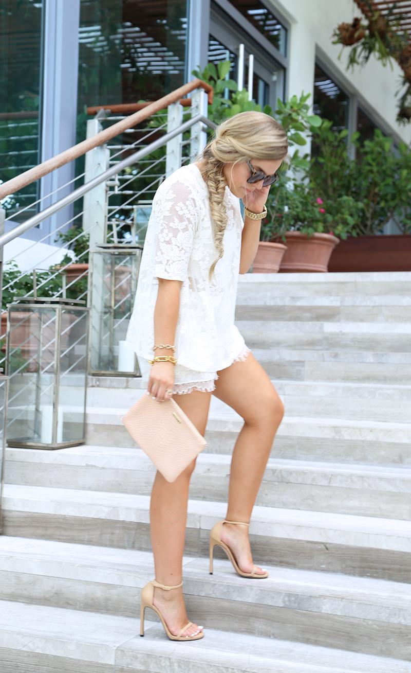 Cream Lace Shorts Set16