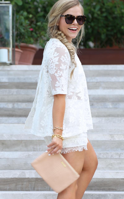 Cream Lace Shorts Set9
