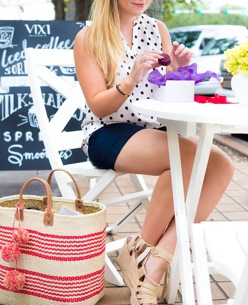 Navy Shorts + Sleeveless Polka Dot Tank2