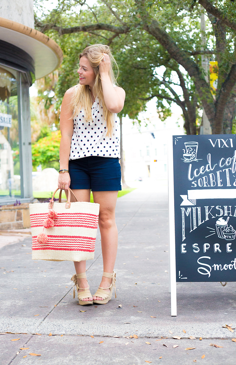 Navy Shorts + Sleeveless Polka Dot Tank4