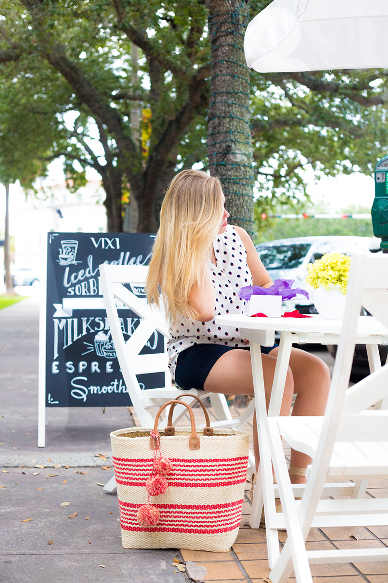 Navy Shorts + Sleeveless Polka Dot Tank5