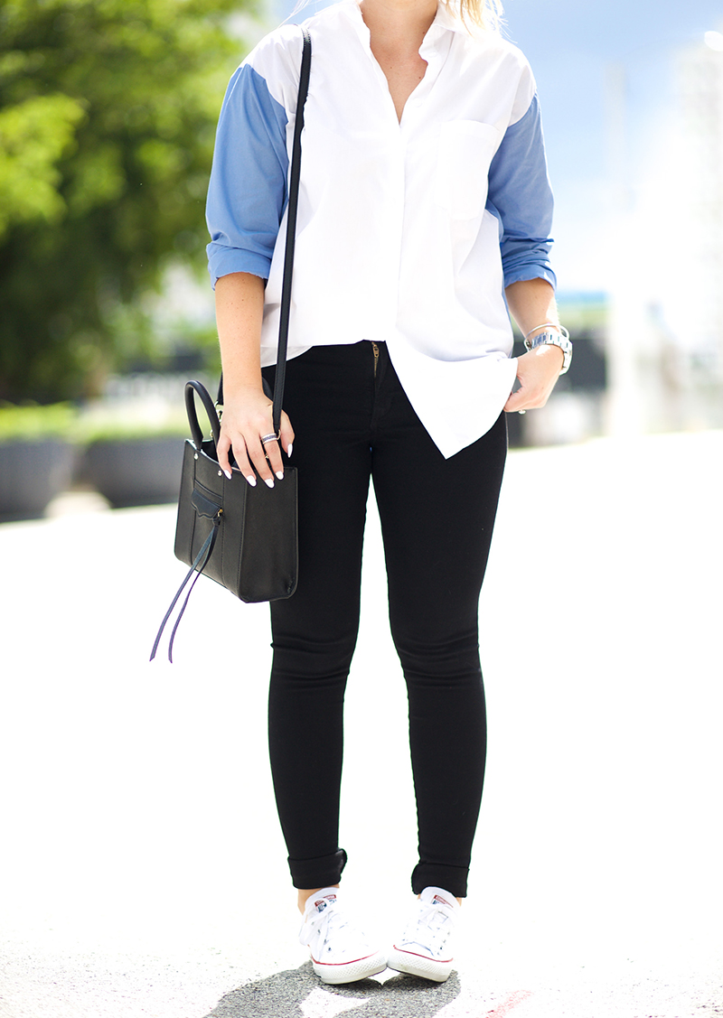 blue-and-white-button-down-black-skinny-jeans