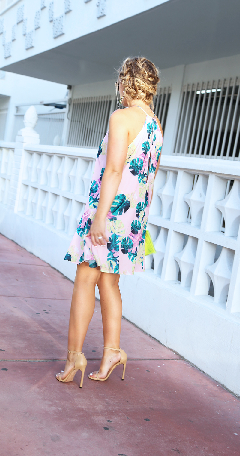 tropical palm print dress, whitney eve palm print dress
