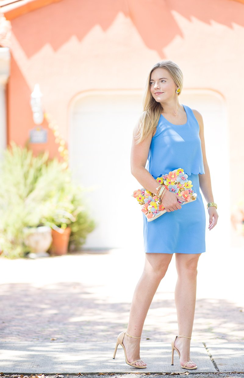 floral clutch and jewelry by Flower Moon