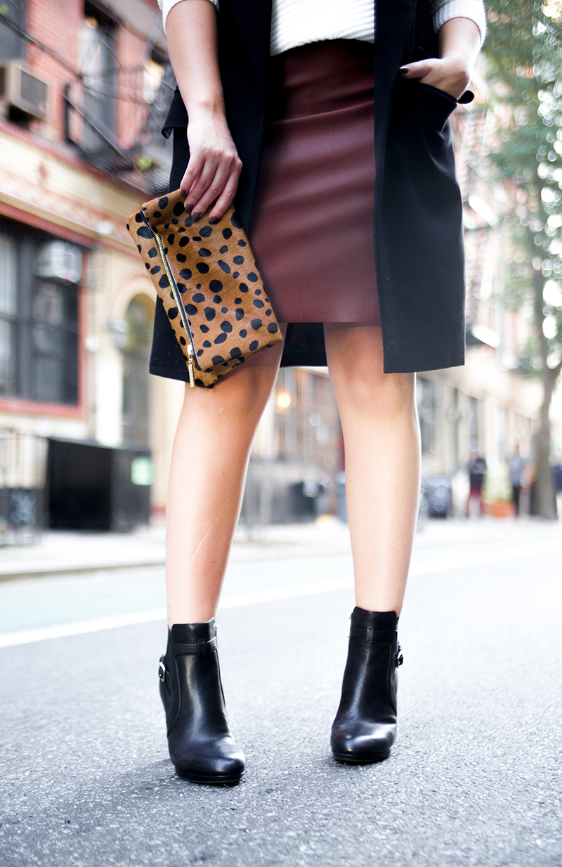 Black Booties + Cognac Leather Skirt